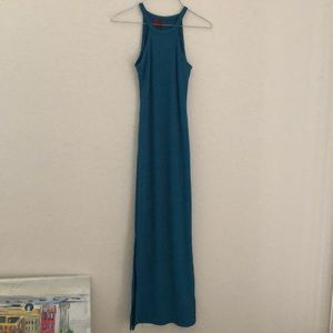 Teal fitted maxi dress
